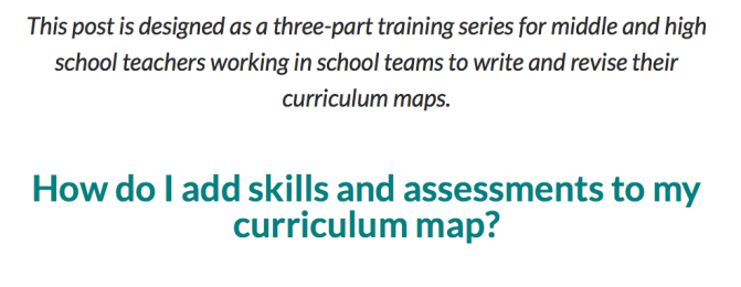 Curriculum Mapping, Part 3