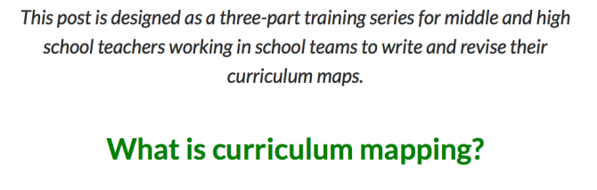 Curriculum Mapping, Part 1